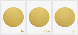 """Bild mit drei Goldenen Punkten """"ja-oui-si"""""""